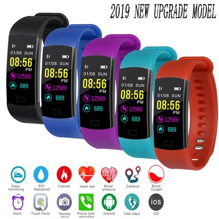 Fitness Tracker Watch Waterproof With Heart Rate Monitor, Activity Tracker Smart Band With Blood Pressure,Colorful Screen,Step Counter,Sleep Monitor,GPS Tracker For Women Men Children iphone