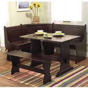 Breakfast Nook 3 Piece Corner Dining Set, Espresso
