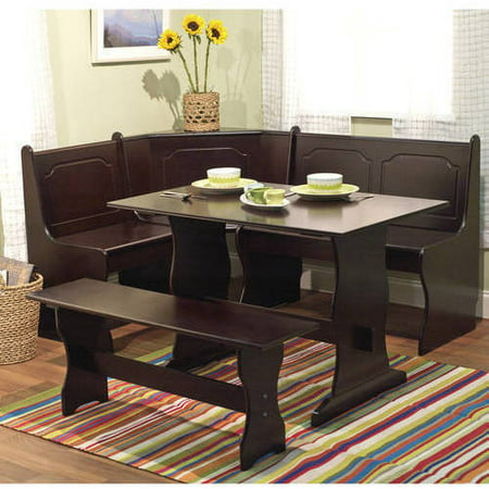 - Breakfast Nook 3 Piece Corner Dining Set, Espresso