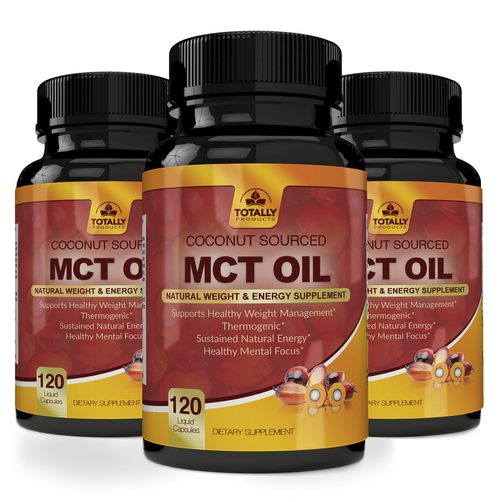 Totally Products Premium MCT OIL 3000mg for Energy and Weight Management (60 Softgels) - 3 Bottles