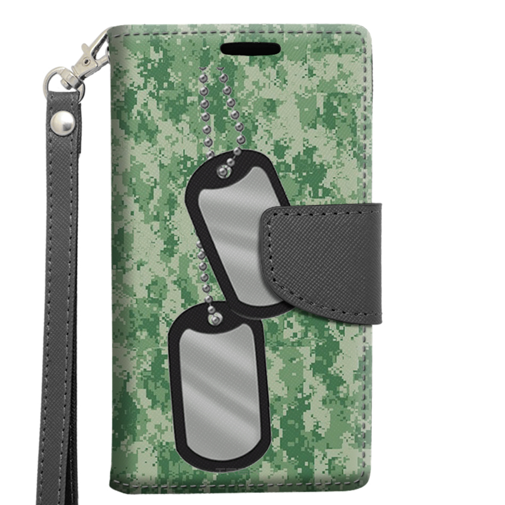 Alcatel OneTouch Elevate Wallet Case - Nameplate on Digital Green Camouflage