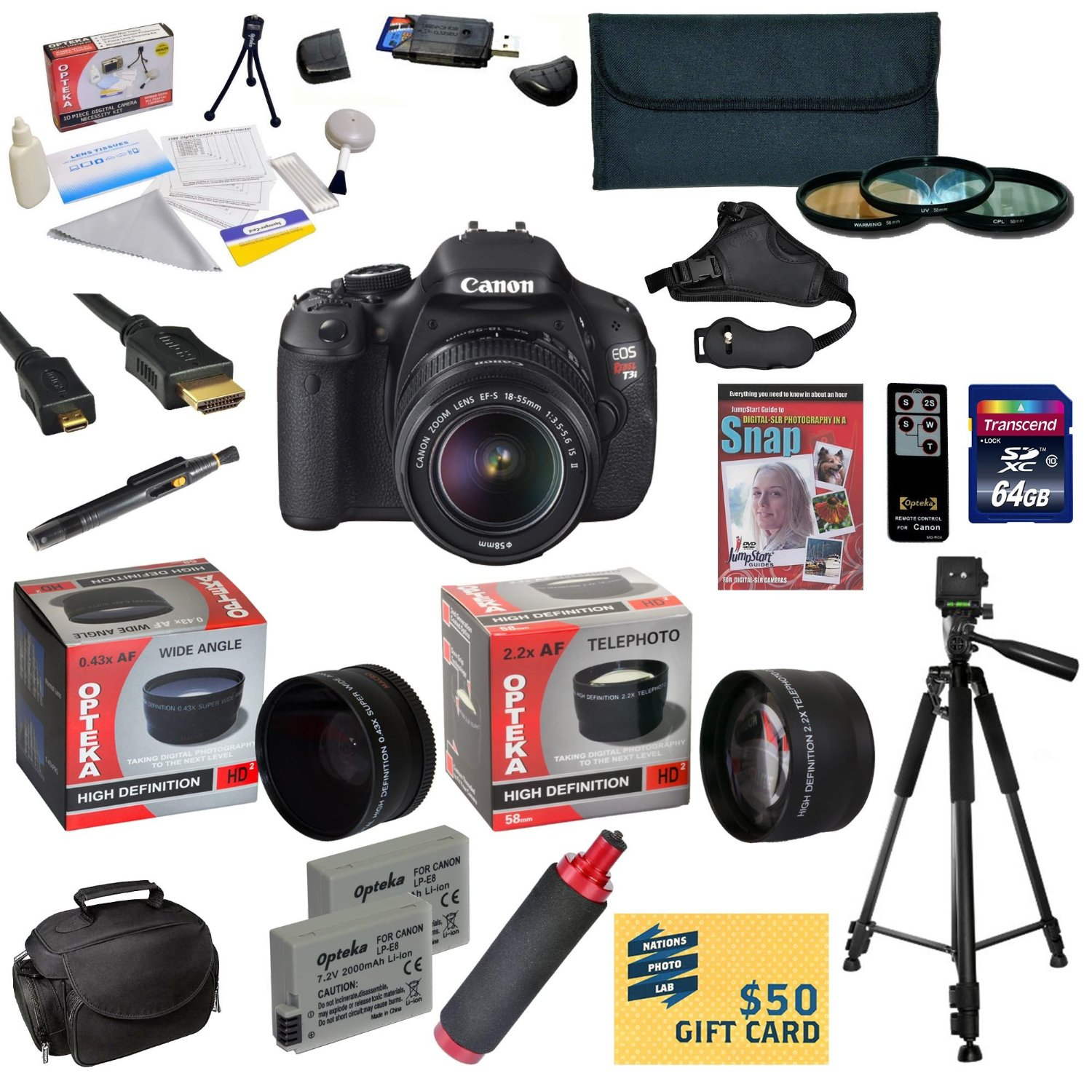 Canon EOS Rebel T3i DSLR Camera with EF-S 18-55mm f/3.5-5.6 IS STM With 64GB Card, 2 Batteries, Charger, 0.43x, 2.2x Lens, 3 Piece Filters, HDMI Cable, Gadget Bag, Tripod, DVD, $50 Gift Card, More