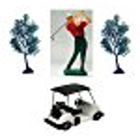A1BakerySupplies A1BakerySupplies Golf Kit with Golfer, Golf Cart and two Trees Caketopper