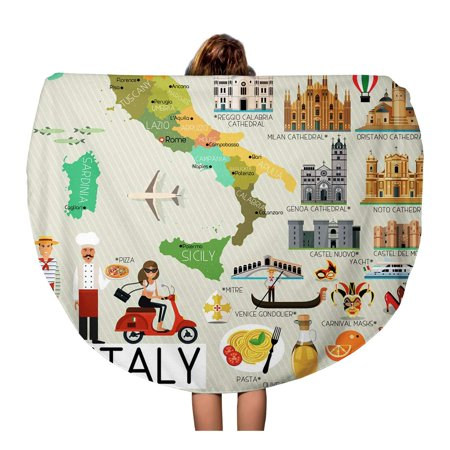 SIDONKU 60 inch Round Beach Towel Blanket Naples Map of Italy and Travel Genoa Rome Airplane Travel Circle Circular Towels Mat Tapestry Beach Throw