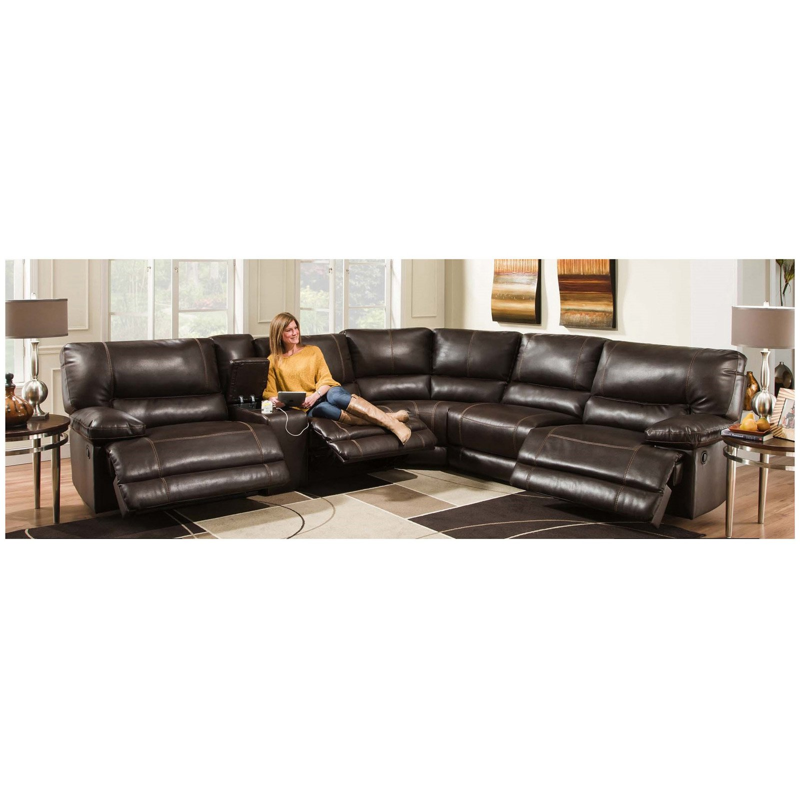 Chelsea Home Furniture Bane 6 Piece Power Sectional Recliner Sofa