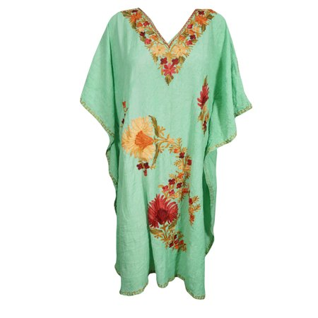 Mogul Women's Floral Caftan Embellished Beach Cover Up Tunic DRESS