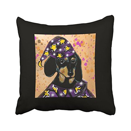 WinHome Cute Girly Dachshund Dog Wizard Star Watercolor Art Halloween Polyester 18 x 18 Inch Square Throw Pillow Covers With Hidden Zipper Home Sofa Cushion Decorative - Gingy Halloween