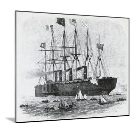 Steamship Sailing amongst Smaller Ships Wood Mounted Print Wall - Sailing Ship Wood