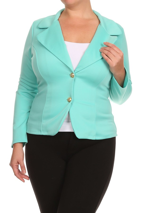 Women's  PLUS trendy style, long sleeves waist length solid jackets.