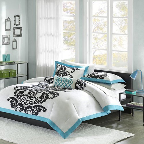 white teal u0026 black teen girls twin comforter sham u0026 toss pillow 3 pc