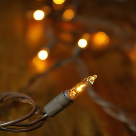 Commercial Grade String Lights, 100 Mini Bulbs, 42 ft. Brown Wire, Plug