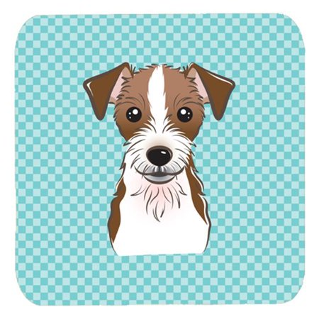 Jack Russell Terrier Coaster - 3.5 x 3.5 In. Checkerboard Blue Jack Russell Terrier Foam Coasters, Set Of 4