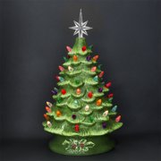 best choice products 15 prelit ceramic tabletop christmas tree w multicolored lights green - Tabletop Christmas Trees With Lights
