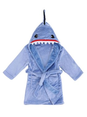 Animal Robe with Hood Soft Plush Terry Cloth Bathrobe,Shark Blue,M(4-6 Years)