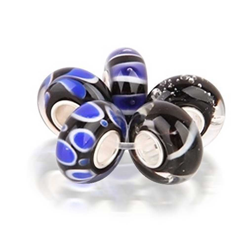 Bling Jewelry Black Murano Glass Bead Set 925 Sterling Fits Pandora