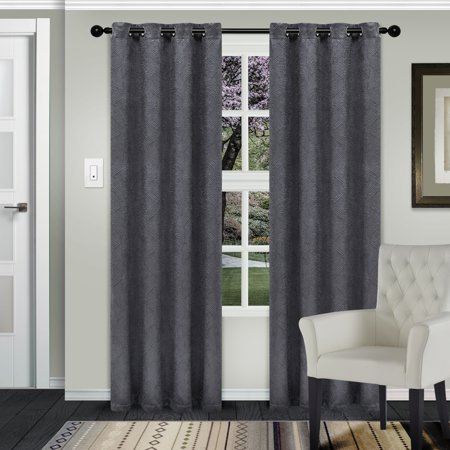 Superior Waverly Textured Blackout Curtain Set of 2, Insulated Panels with Grommet Top (Waverly Drapery Panel)