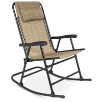 Best Choice Products Foldable Zero Gravity Rocking Mesh Patio Recliner Chair w/ Headrest Pillow, Beige