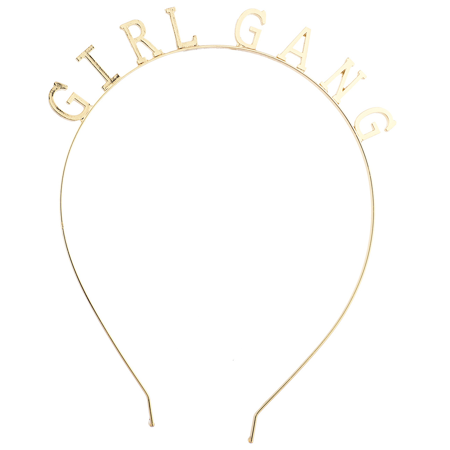 Lux Accessories Gold Tone Girl Gang Fashion Verbiage Party Bachelorette -