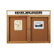 Aarco Products RHI4836RH Removable Letter Panel Enclosed Bulletin Board with Red Oak Frame
