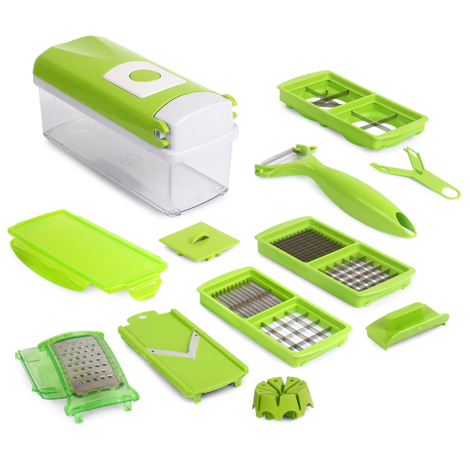 12 PC Super Slicer Plus Vegetable Fruit Peeler Dicer Cutter Chopper Nicer Grater by