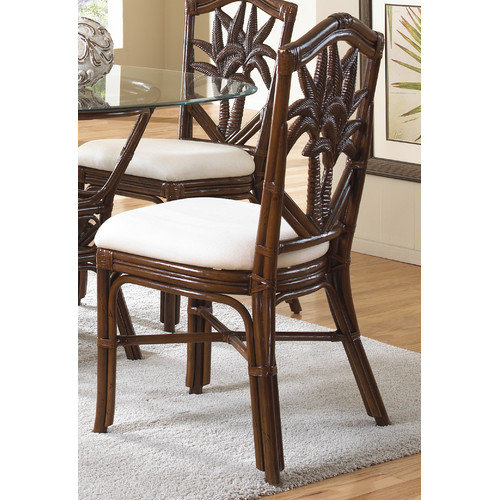 Hospitality Rattan Cancun Palm Dining Side Chair with Cushion