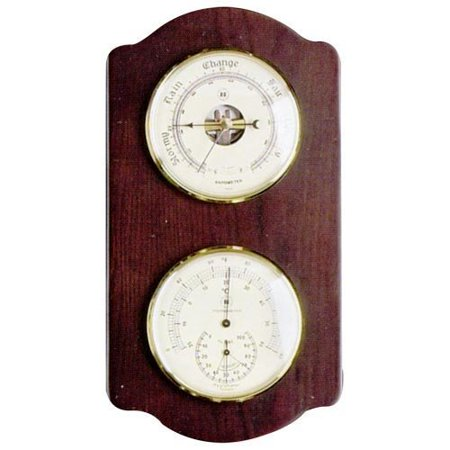 Barometer & Thermometer With Hygrometer On Ash Wood