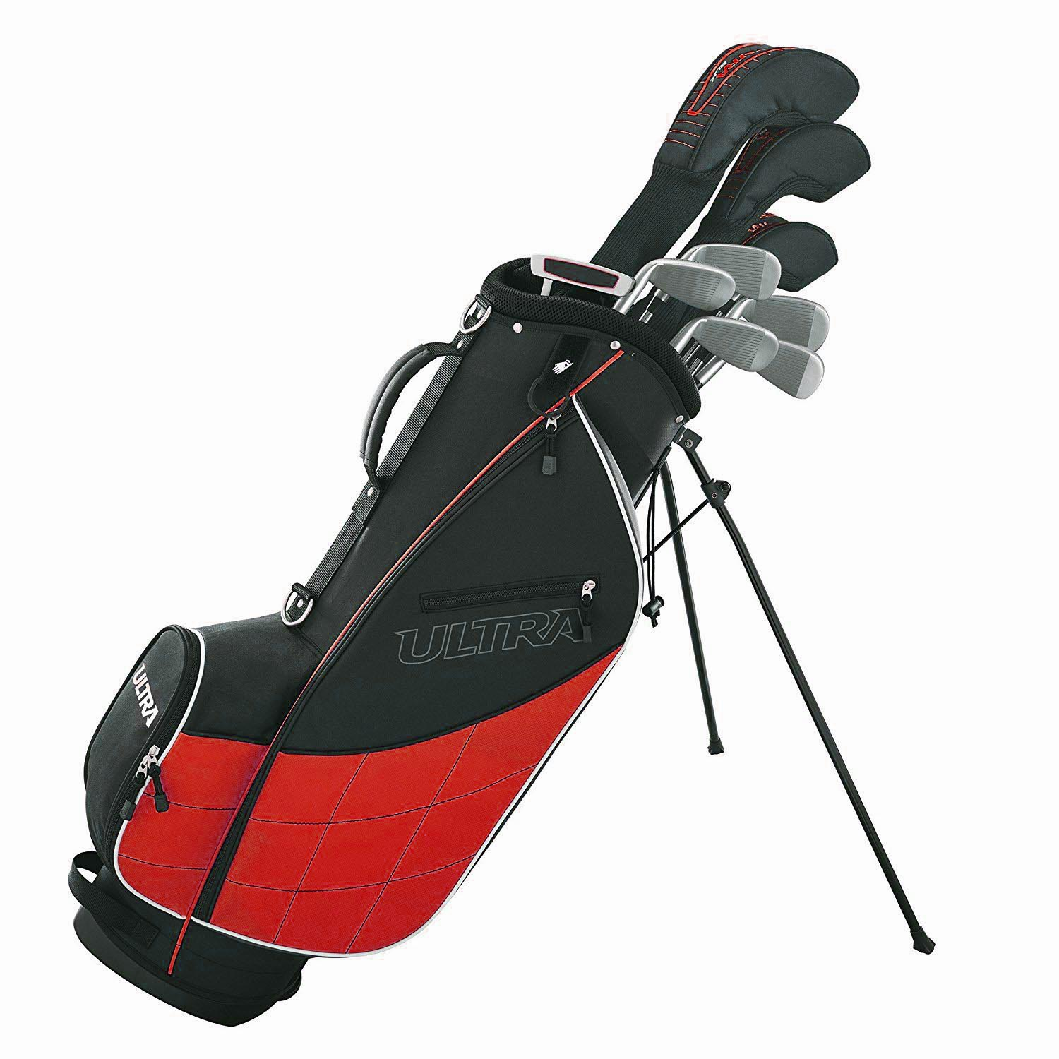 Wilson Ultra Men's 13-Piece, Left-Handed Golf Club Set w  Bag, Black & Red by Wilson