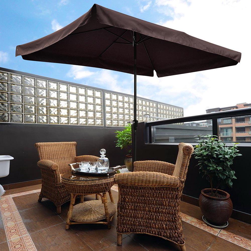 Yescom 10x6.5ft (2x3m) Rectangle Aluminum Outdoor Patio Umbrella w  Valance Sunshade Crank... by Yescom