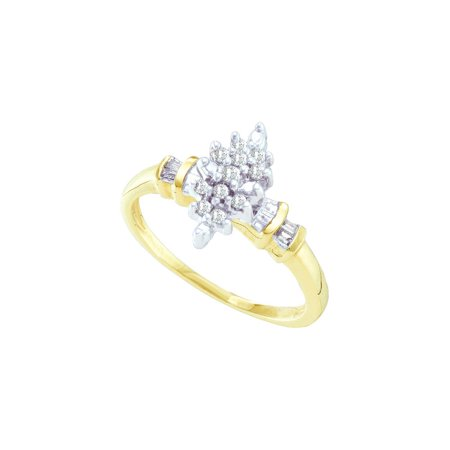 10K Yellow Gold 0.15ctw Fancy Sleek Pave Diamond Fashion Cluster Marquise Ring