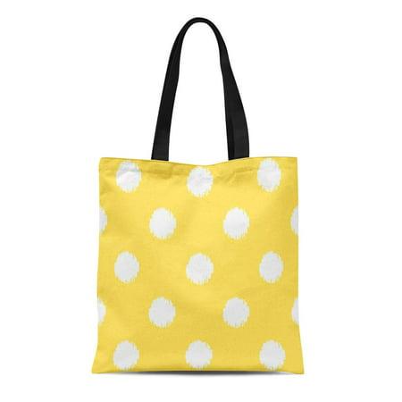 LADDKE Canvas Tote Bag Yellow Sunshine Ikat Dots Summer Modern Polka Pattern Reusable Handbag Shoulder Grocery Shopping Bags