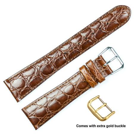 deBeer brand Alligator Grain Watch Band (Silver & Gold Buckle) - Havana 14mm (Black Alligator Watch)