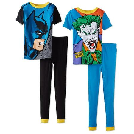 Super Heroes Boys Batman and Joker 4 Piece Cotton Pajama Set, Sizes 4-10 - Boy Super Hero
