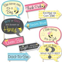 Funny What Will It BEE? - Gender Reveal Photo Booth Props Kit - 10 Piece