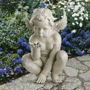 Design Toscano Life's Mysteries Cherub Garden Statue, 15 Inch, Polyresin, Antique Stone