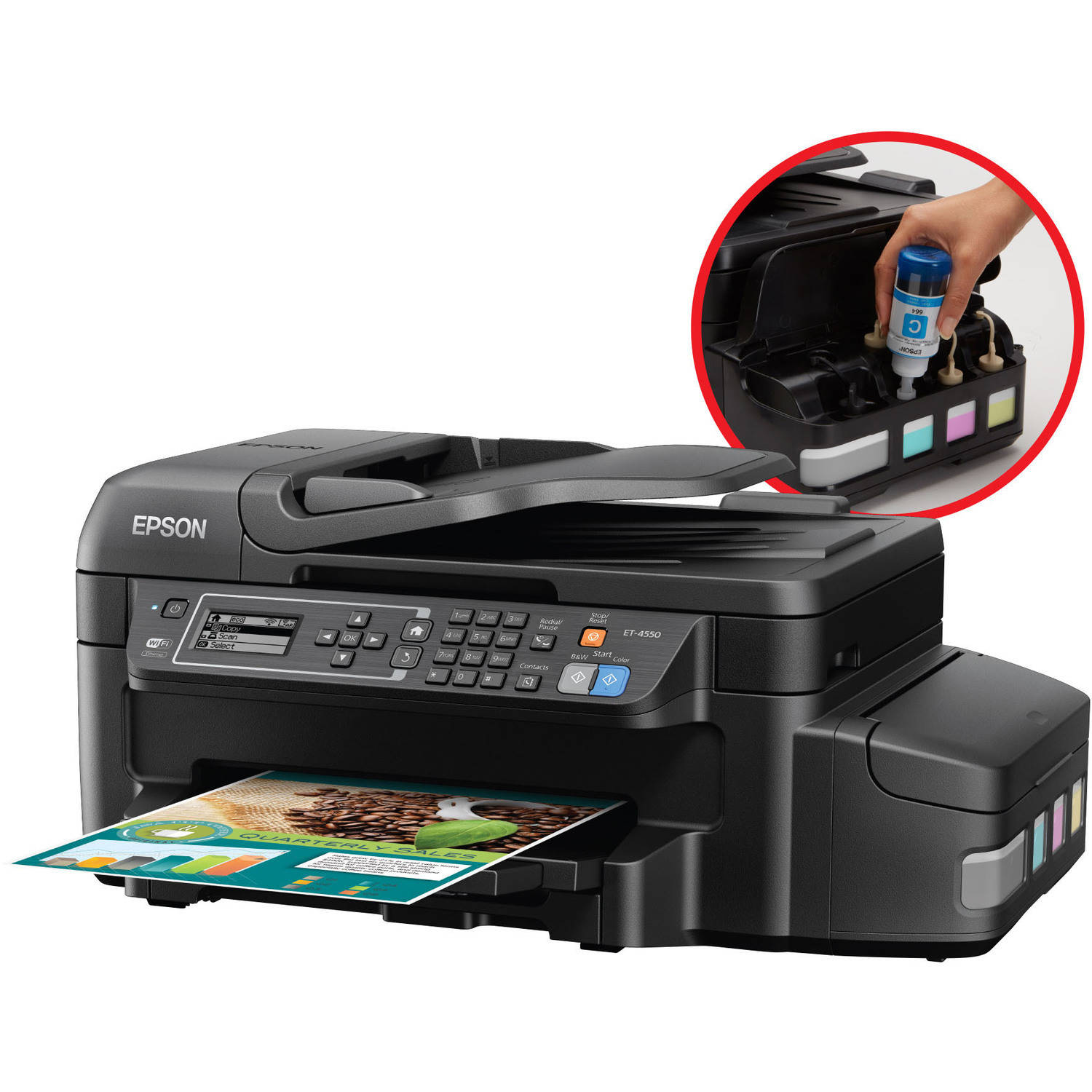 Epson WorkForce ET-4550 EcoTank All-in-One Printer/Copier/Scanner/Fax Machine
