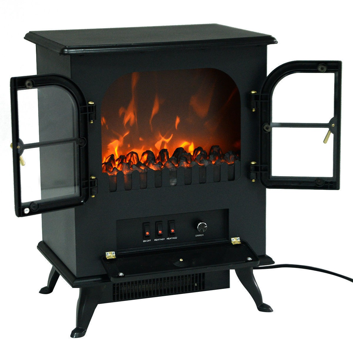 1500W Free Standing Electric Fireplace Heater Fire Flame Stove Wood Adjustable