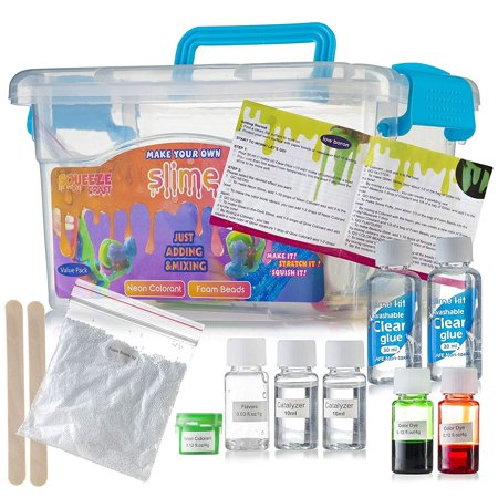 Make Your Own Slime Kit - Double Pack, Neon Foam Beads and Neon Colorant Perfect for Arts and Crafts, School Project Sensory and Tactile Stimulation, Stress Reliever, Educational Game, and Event Favor](Halloween Arts And Crafts For Schools)