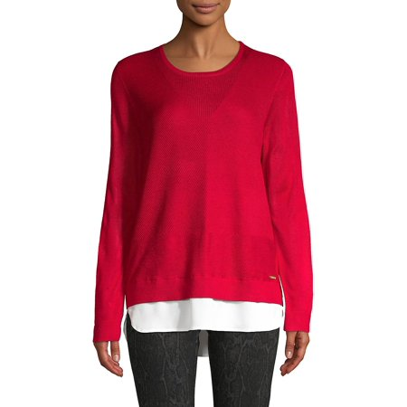 Ribbed Layered Pullover Sweater ()
