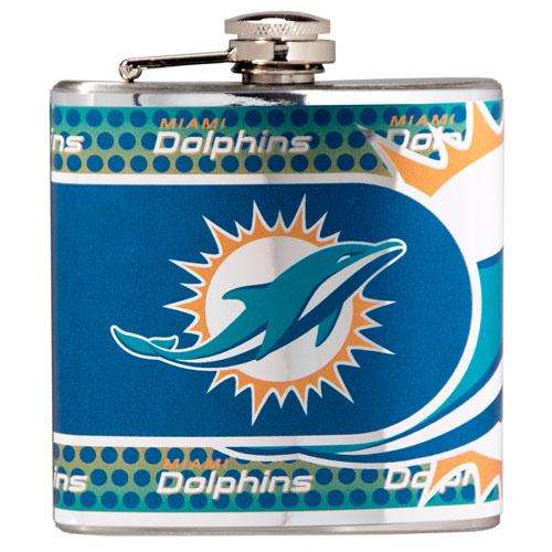 Great American Products Miami Dolphins Flask Stainless Steel 6 oz. Flask
