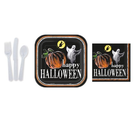 Happy Halloween Ghost Basic 48pc Party Tableware Set,  8 Place Settings