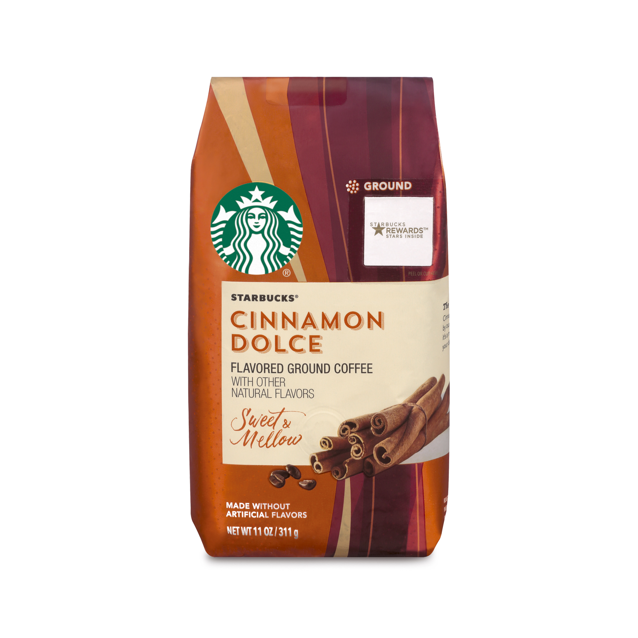 Starbucks Cinnamon Dolce Flavored Blonde Light Roast Ground Coffee, 11-Ounce Bag