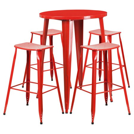 Flash Furniture 30 Round Red Metal Indoor Outdoor Bar Table Set With 4