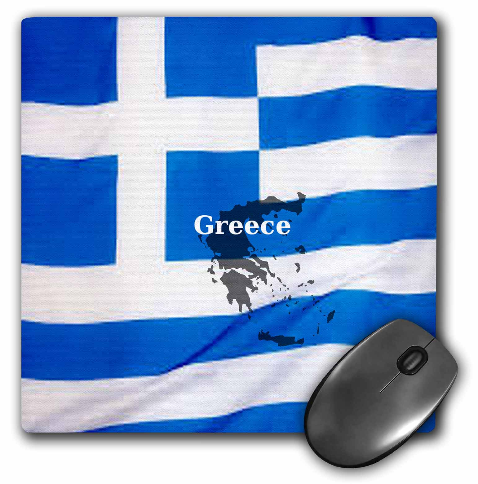 3dRose Greek Flag Design, Mouse Pad, 8 by 8 inches by 3dRose
