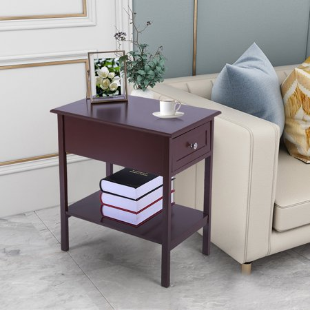 Narrow-Sided Table Bedside Table With Sliding Drawer Locker Brown