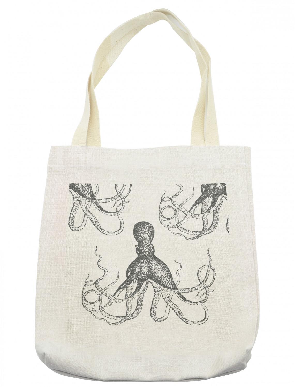 Marine Life Octopus Pattern Illustration Tote Canvas Bag Shopping Satchel Casual Handbag