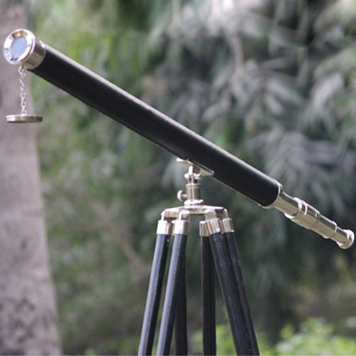 Nickel Finish Nautical Pirate Collection Telescope Black Leather Grip Tripod Decor Chrome Black Color