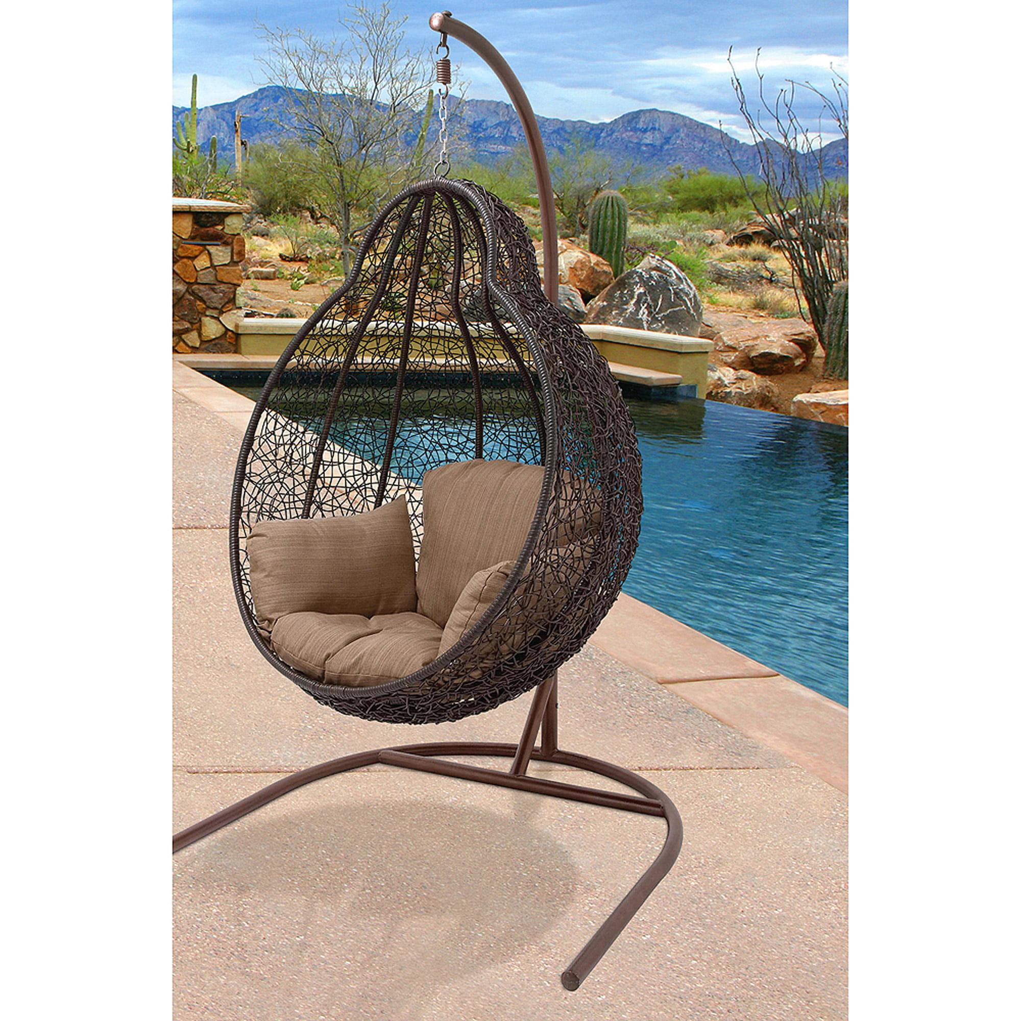 Hanging wicker egg chair - Hanover Egg Swing04 Outdoor Wicker Rattan Hanging Egg Chair Swing Brown Tan Walmart Com