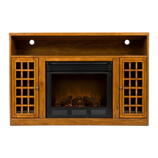 """Southern Enterprises Chenault Electric Fireplace and Media Console for TVs up to 46"""", Glazed Pine (Box 1 of 2)"""