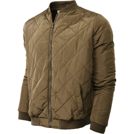 Mens Rambler Brown Bomber - Mens Premium Quilted Padded Bomber Jacket Zip Up Outdoor Outerwear Coat