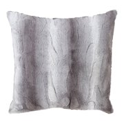 Fennco Styles Wilma Collection Country Faux Rabbit Fur Palette 20 x 20 Inch Throw Pillow Cover – Grey Throw Pillow Case for Couch, Bedroom and Living Room Décor